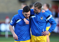 Lee Mansell of Bristol Rovers puts his arm round Jake Gosling during the warm up - Mandatory by-line: Robbie Stephenson/JMP - 19/04/2016 - FOOTBALL - Lamex Stadium - Stevenage, England - Stevenage v Bristol Rovers - Sky Bet League Two