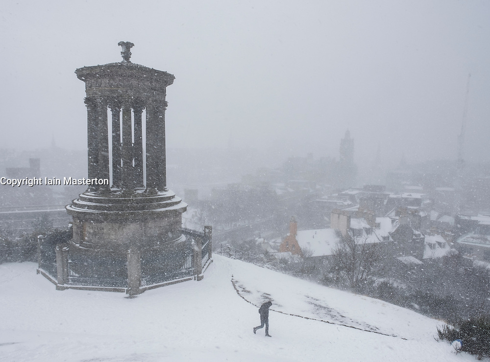 Edinburgh, Scotland, United Kingdom, 1 March, 2018. Heavy snowfalls continue across the city from the storm known as The Beast from the East. Most shops are closed and transport services have been cancelled. Pictured; Blizzard sweeps across the city viewed from Calton Hill