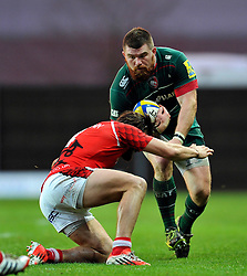 Michele Rizzo of Leicester Tigers is tackled - Photo mandatory by-line: Patrick Khachfe/JMP - Mobile: 07966 386802 23/11/2014 - SPORT - RUGBY UNION - Oxford - Kassam Stadium - London Welsh v Leicester Tigers - Aviva Premiership