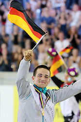 22.08.2015, Aachener Soers, Aachen, GER, FEI Europameisterschaften Aachen 2015, Finale Herren-Kuer, Voltigieren, im Bild Europameister Jannis Drewell (GER) mit Medaille auf der Ehrenrunde, Pferd Diabolus 3 und Longenfuehrerin Simone Drewell (GER) // during Final Men, Vaulting of FEI European Championships Aachen 2015 at the Aachener Soers in Aachen, Germany on 2015/08/22. EXPA Pictures &copy; 2015, PhotoCredit: EXPA/ Eibner-Pressefoto/ RRZ<br /> <br /> *****ATTENTION - OUT of GER*****
