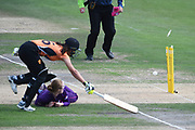 Maia Bouchier of Southern Vipers is run out by Georgia Elwiss during the Kia Women's Cricket Super League semi-final match between Loughborough Lightning and Southern Vipers at the 1st Central County Ground, Hove, United Kingdom on 1 September 2019.