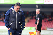 Shrewsbury Town Manager Paul Hurst  during the EFL Sky Bet League 1 match between Scunthorpe United and Shrewsbury Town at Glanford Park, Scunthorpe, England on 17 March 2018. Picture by Mick Atkins.