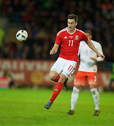 CARDIFF, WALES - Friday, November 13, 2015: Wales' Tom Lawrence in action against the Netherlands during the International Friendly match at the Cardiff City Stadium. (Pic by David Rawcliffe/Propaganda)