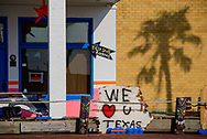 A sign outside a store damaged by Hurricane Harvey on Thursday, Aug. 31, 2017, in Rockport, Texas. LCMS Communications/Erik M. Lunsford