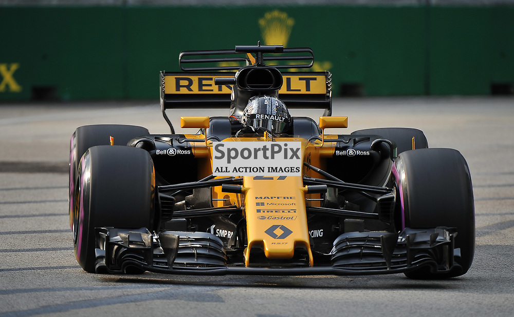 Nico Hulkenberg, Renault Sport Formula One Team.<br /> Day 2 of the 2017 Formula 1 Singapore Airlines, Singapore Grand Prix held at The Marina Bay street circuit, Singapore on the 15th September 2017.<br /> Wayne Neal | SportPix.org.uk