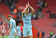 Marcos Alonso (3) of Chelsea applauds the travelling fans at full time after beating Southampton 3-0 during the Premier League match between Southampton and Chelsea at the St Mary's Stadium, Southampton, England on 7 October 2018.