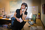 08 OCTOBER 2010 - PHOENIX, AZ:  Monica Goddard works the phones at Terry Goddard's campaign headquarters in downtown Phoenix Friday, Oct. 8. Goddard lost the election to sitting Governor Jan Brewer, a conservative Republican.     PHOTO BY JACK KURTZ