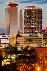 High rises of downtown Kansas City's Crown Center area at sunrise.