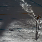 Winter Olympics, Vancouver, 2010.Lindsey Vonn, USA, in action in the Alpine Skiing Ladies Super Combined as the early morning sun starts to break through during competition at Whistler Creekside, Whistler, during the Vancouver Winter Olympics. 18th February 2010. Photo Tim Clayton