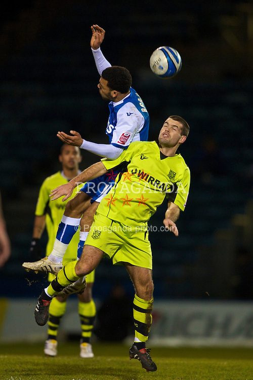 GILLINGHAM, ENGLAND - Tuesday, February 9, 2010: Tranmere Rovers' John Welsh in action against Gillingham's Andy Barcham during the Football League One match at the Priestfield Stadium. (Pic by David Rawcliffe/Propaganda)