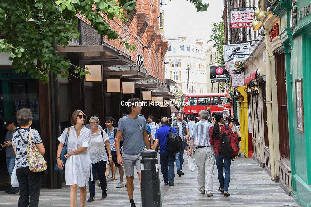 Chinese restaurants in Chinatown London on July 19 2018, UK