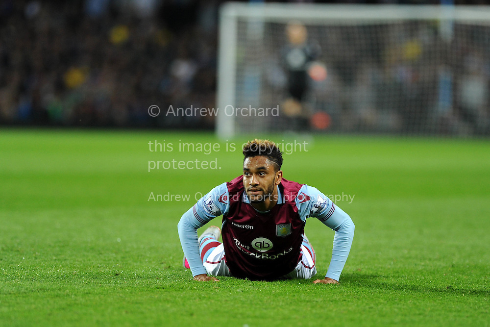 Jordan Amavi of Aston Villa looks on. Barclays Premier League match, Aston Villa v Manchester Utd at Villa Park in Birmingham, Midlands on Friday 14th August  2015.<br /> pic by Andrew Orchard, Andrew Orchard sports photography.