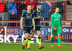 Tony Craig, Ryan Sweeney and Sam Slocombe of Bristol Rovers cut dejected figures - Mandatory by-line: Robbie Stephenson/JMP - 02/04/2018 - FOOTBALL - Highbury Stadium - Fleetwood, England - Fleetwood Town v Bristol Rovers - Sky Bet League One