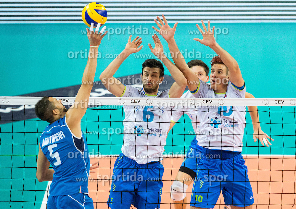 Osmany Juantorena of Italy vs Mitja Gasparini #6 of Slovenia and Jan Kozamernik #10 of Slovenia during volleyball match between National teams of Slovenia and Italy in 1st Semifinal of 2015 CEV Volleyball European Championship - Men, on October 17, 2015 in Arena Armeec, Sofia, Bulgaria. Photo by Vid Ponikvar / Sportida