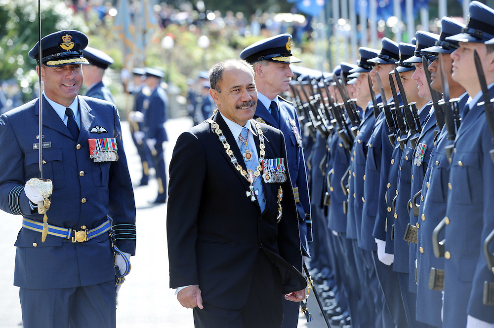 The Governor General Sir Jerry Mateparae inspecting the Parade of Colours for the RNZAF's 75th Anniversary on the forecourt, Parliament, Wellington, New Zealand, Tuesday, April 03, 2012. Credit:SNPA / Ross Setford