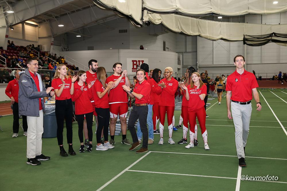 2020 Bruce LeHane Scarlet & White <br /> Indoor track & field, BU senior's recognition, coach Gabe Sanders