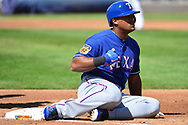 PHOENIX, AZ - MARCH 04:  Adrian Beltre #29 of the Texas Rangers reacts while sitting on first base after while waiting for a call in the first inning of the the spring training game against the Milwaukee Brewers at Maryvale Baseball Park on March 4, 2017 in Phoenix, Arizona.  (Photo by Jennifer Stewart/Getty Images)