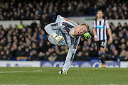 Rob Elliot (Newcastle United) is beaten by the shot during the Barclays Premier League match between Everton and Newcastle United at Goodison Park, Liverpool, England on 3 February 2016. Photo by Mark P Doherty.