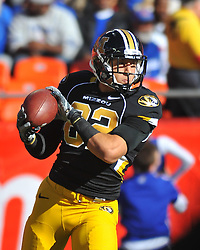 Nov 27, 2010; Kansas City, MO, USA; Missouri Tigers tight end Michael Egnew (82) warms up before the game against the Kansas Jayhawks at Arrowhead Stadium. Missouri won 35-7. Mandatory Credit: Denny Medley-US PRESSWIRE