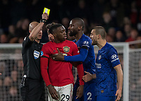 Football - 2019 / 2020 Premier League - Chelsea vs. Manchester United<br /> <br /> Tempers flare towards the end of the game as Aaron Wan-Bissaka (Manchester United) and Mateo Kovacic (Chelsea FC) have to be separated at Stamford Bridge <br /> <br /> COLORSPORT/DANIEL BEARHAM