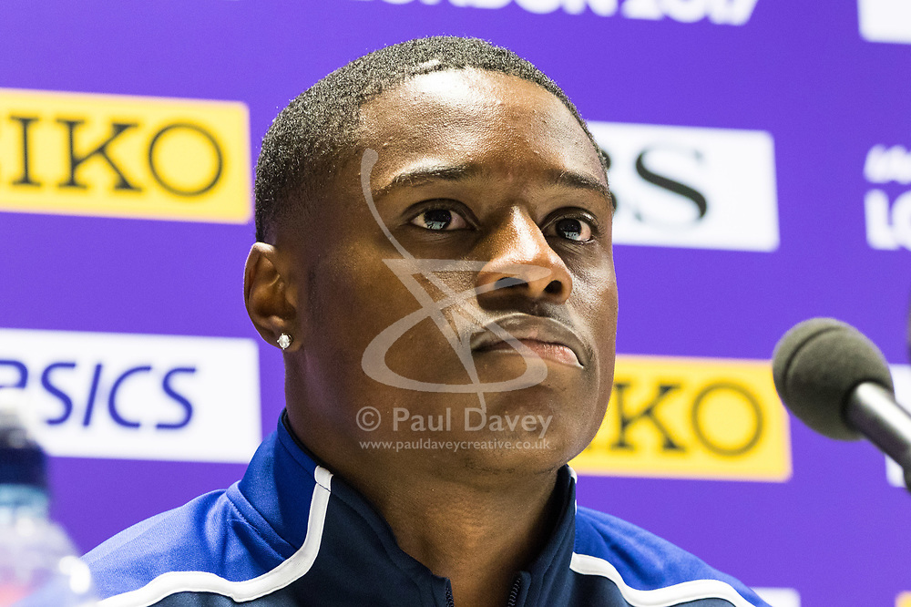 London, 03 August 2017. Christian Coleman, 2016 Rio Olympian & 2017 100m world leader at Team USATF press conference ahead of the IAAF World Championships London 2017 at the London Stadium.