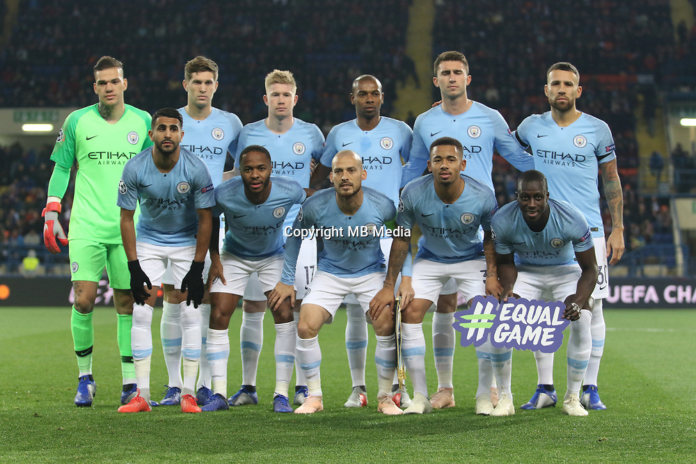 KHARKOV, UKRAINE - OCTOBER 23: Manchester City line up before the Group F match of the UEFA Champions League between FC Shakhtar Donetsk and Manchester City at Metalist Stadium on October 23, 2018 in Kharkov, Ukraine. (Photo by MB Media/Getty Images)