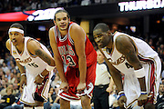 Apr 19, 2010; Cleveland, OH, USA; Chicago Bulls center Joakim Noah (13) lines up at a free-throw between Cleveland Cavaliers forward Jamario Moon (15) and forward Antawn Jamison (4) during the fourth period in game two in the first round of the 2010 NBA playoffs at Quicken Loans Arena. The Cavaliers beat the Bulls 112-102. Mandatory Credit: Jason Miller-US PRESSWIRE