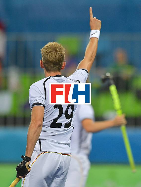 Germany's Niklas Wellen celebrates scoring a goal during the men's field hockey Canada vs Germany match of the Rio 2016 Olympics Games at the Olympic Hockey Centre in Rio de Janeiro on August, 6 2016. / AFP / Carl DE SOUZA        (Photo credit should read CARL DE SOUZA/AFP/Getty Images)