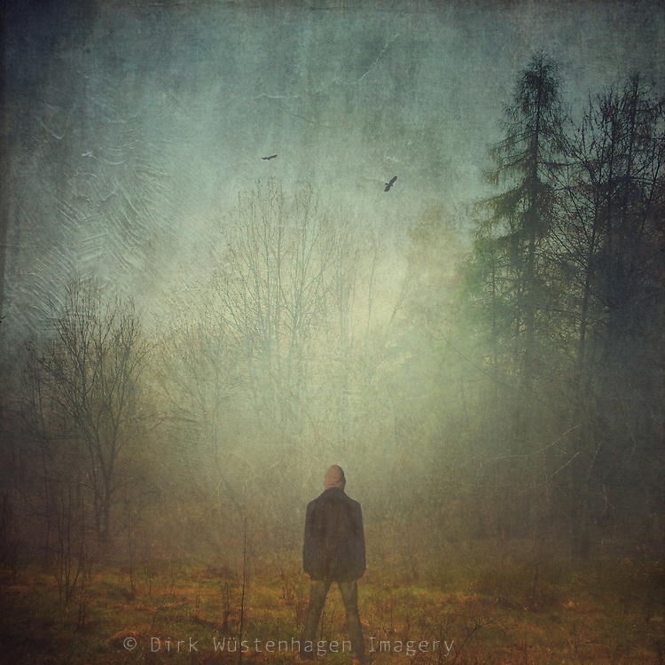 man standing on a meadow looking at the landscape on a misty day - manipulated photo taken with iPhone