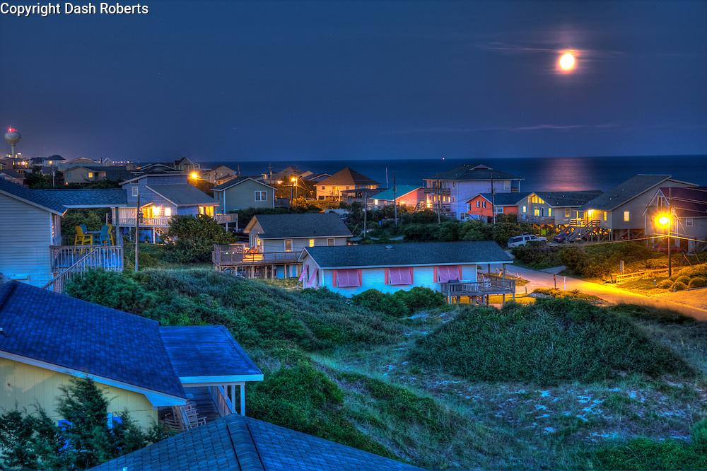 Full Moon rises over Emerald Isle, North Carolina.