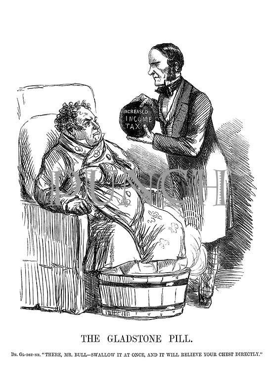 The Gladstone Pill. Dr Gl-dst-ne. 'There, Mr Bull - swallow it at once, and it will relieve your chest directly.'