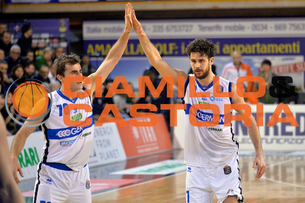 Franko Bushati, Luca Vitali<br /> Germani Basket Brescia Leonessa - Banco di Sardegna Dinamo Sassari <br /> Lega Basket Serie A 2016/2017<br /> Montichiari, 05/02/2017<br /> Foto Ciamillo-Castoria