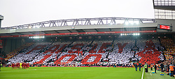 "LIVERPOOL, ENGLAND - Saturday, January 19, 2019: Supporters on the Spion Kop form a mosaic ""Paisley 100"" to celebrate 100 years since the birth of the club's most successful manager Bob Paisley before the FA Premier League match between Liverpool FC and Crystal Palace FC at Anfield. (Pic by David Rawcliffe/Propaganda)"