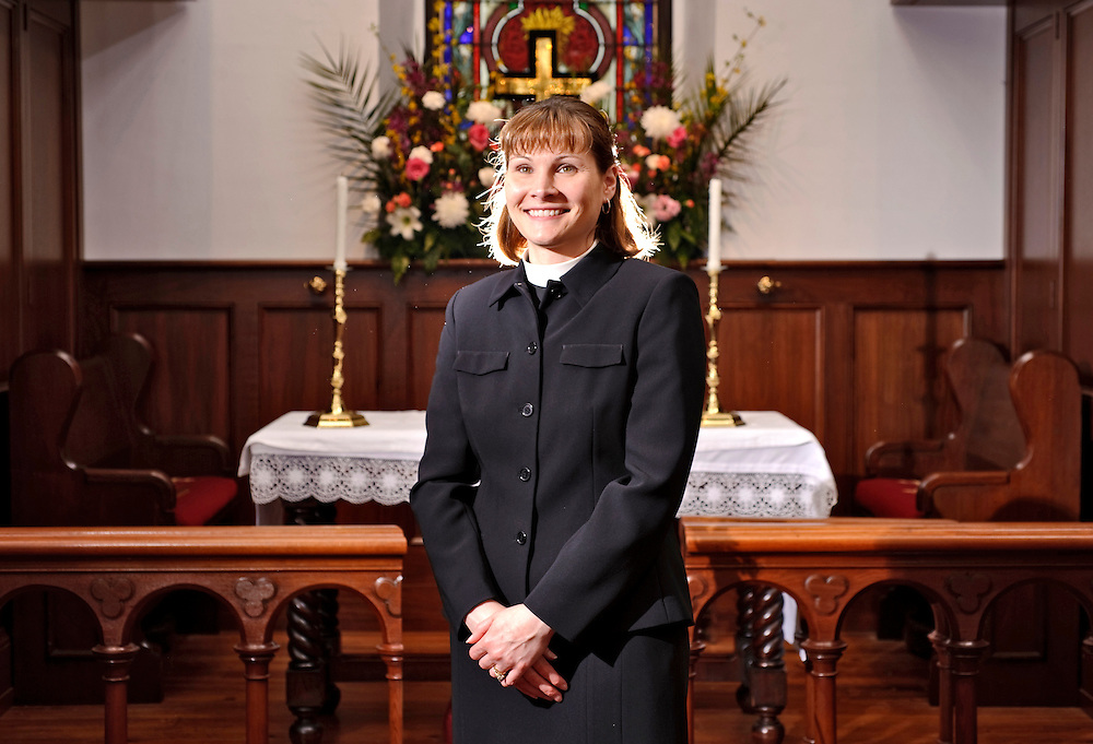 (staff photo by Matt Roth)..Reverend Megan Stewart-Sicking is the new Rector at Immanuel Episcopal Church. She is photographed at the historic Sparks church Tuesday, April 6, 2010.