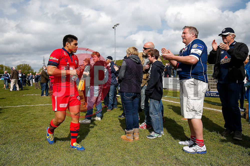 Bristol Rugby Winger David Lemi is clapped off the pitch by fans after Bristol Rugby win the match to advance to the play off final - Photo mandatory by-line: Rogan Thomson/JMP - 07966 386802 - 10/05/2015 - SPORT - RUGBY UNION - Abbeydale Park, Sheffield - Rotherham Titans v Bristol Rugby - Greene King IPA Championship Play Off Semi Final Second Leg.