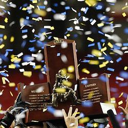 Dec 3, 2011; Atlanta, GA, USA; LSU players hold up the SEC championship trophy following a win over the Georgia Bulldogs in the 2011 SEC championship game at the Georgia Dome.  Mandatory Credit: Derick E. Hingle-US PRESSWIRE