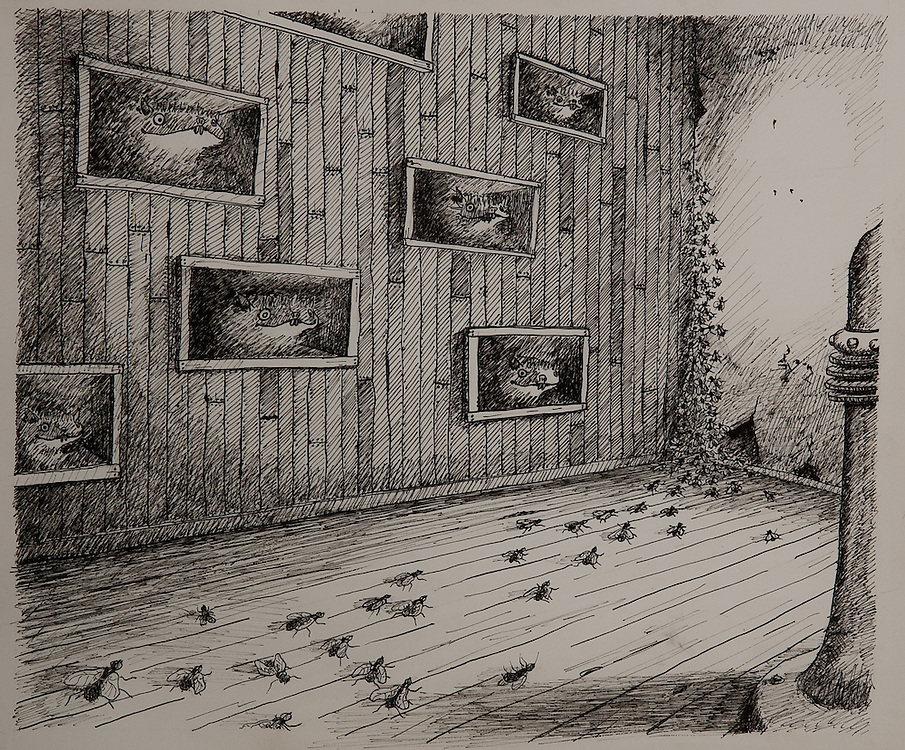 DISTURBING DREAM NO. 437, ink drawing 1992