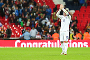 """""""Congratulations"""" to Wayne Rooney on becoming England's top goal scorer  during the UEFA European 2016 Qualifying match between England and Switzerland at Wembley Stadium, London, England on 8 September 2015. Photo by Shane Healey."""