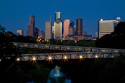 Downtown Houston skyline from the Rosemont Bridge over Buffalo Bayou at night - June 2011.