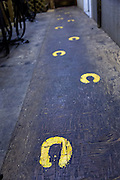 Horse hoof prints painted into the floor at the Palmetto Horse barn in historic Charleston, SC.