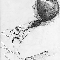 Sketchbook drawing of female figure sitting
