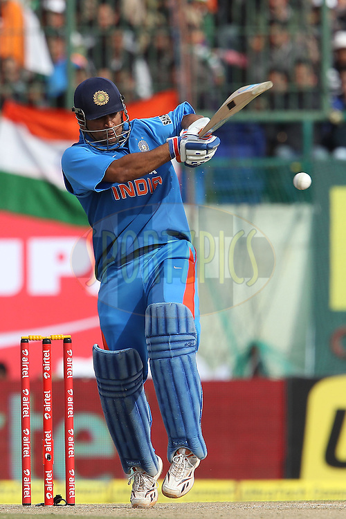MS Dhoni of India during the 5th Airtel ODI between India and England held at the HPCA Stadium in Dharamsala, Himachal Pradesh, India on the 27th January 2013..Photo by Ron Gaunt/BCCI/SPORTZPICS ..Use of this image is subject to the terms and conditions as outlined by the BCCI. These terms can be found by following this link:..http://www.sportzpics.co.za/image/I0000SoRagM2cIEc