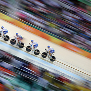 Track Cycling - Olympics: Day 6  The Italian team of Simone Consonni, Liam Bertazzo, Pilippo Ganna and Francescoe Lamon in action during the Men's Team Pursuit Qualifying race during the track cycling competition at the Rio Olympic Velodrome August 11, 2016 in Rio de Janeiro, Brazil. (Photo by Tim Clayton/Corbis via Getty Images)