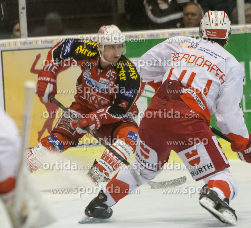 05.01.2014, Stadthalle, Klagenfurt, AUT, EBEL, KAC vs HC Bozen, 64. Runde, im Bild David Schuller (Kac, #45), Hannes Oberdorfer (HC Bolzano, #44) // during the Erste Bank Icehockey League 64th Round match betweeen EC KAC and HC Bozen at the City Hall, Klagenfurt, Austria on 2014/01/05. EXPA Pictures © 2014, PhotoCredit: EXPA/ Gert Steinthaler