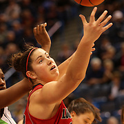 Sara Hammond, Louisville, in action during the Notre Dame Fighting Irish V Louisville Cardinals Semi Final match during the Big East Conference, 2013 Women's Basketball Championships at the XL Center, Hartford, Connecticut, USA. 11th March. Photo Tim Clayton