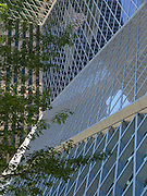 Exterior facade, glass window patttern. Seattle Public Library, designed by Dutch architect Rem Koolhaas, finished in 2004. Address: 1000 Fourth Ave, Seattle, Washington 98164, USA.
