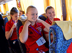 ASTANA, KAZAKHSTAN - Sunday, September 17, 2017: Wales' Rhiannon Roberts on the team bus before the FIFA Women's World Cup 2019 Qualifying Round Group 1 match between Kazakhstan and Wales at the Astana Arena. (Pic by David Rawcliffe/Propaganda)