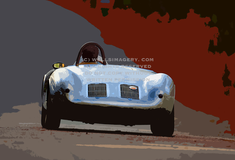Automotive Fine Art Photographer and Promotional Writer Randy Wells, Image of a 1958 silver Porsche 550A Spyder, Washington state, Pacific Northwest, model and property released