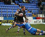 Ryan Fieldhouse (R) of Barrow Raiders tackles Greg Worthington of Toronto Wolfpack during the Betfred Championship match at Craven Park, Barrow-in-Furness<br /> Picture by Stephen Gaunt/Focus Images Ltd +447904 833202<br /> 11/02/2018