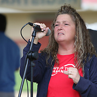 AFSP Mississippi Chapter Board member and organzier of the Out of the Darkness Walk, Marsha Jensen, welcomed attendees Saturday to the 5th annual walk